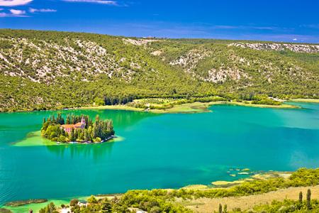 Island of Visovac monastery in Krka national park, Dalmatia, Croatia Stock Photo
