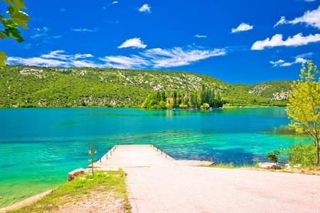 Visovac lake and island monastery in Krka river national park, Dalmatia, Croatia