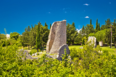 Old town Drnis ruins view, Dalmatian Zagore, Croatia Stock Photo
