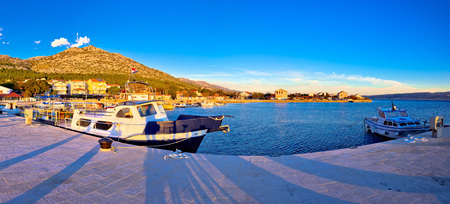 starigrad: Starigrad Paklenica waterfront at sundown panoramic view, Velebit channel in Croatia