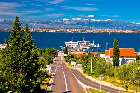 Island of Ugljan ferry port and Zadar view with Velebit mountain background, Dalmatia, Croatia
