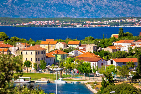 Sutomscica village and Zadar channel view, Island of Ugljan, Croatia Stock Photo