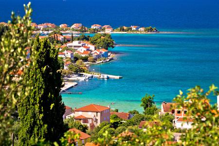 Island of Ugljan scenic coast and beach, Preko village, Dalmatia, Croatia Stock Photo