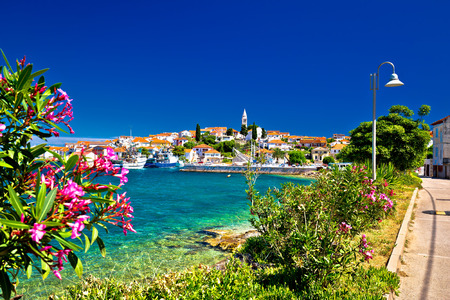 Turquoise waterfrontof Ugljan island and town of Kali view, Dalmatia, Croatia
