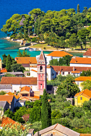 Town of Preko on Ugljan island architecture and beach view, Dalmatia, Croatia