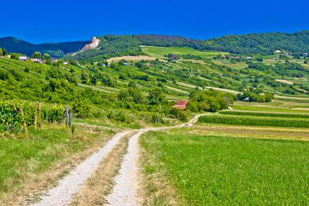 Country road in Kalnik mountain landscape, Prigorje region of Croatia