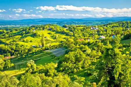 Picturesque green hills of Plesivica view, northern Croatia Reklamní fotografie