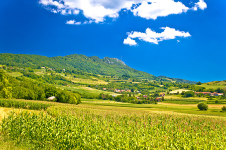 Idyllic green landscape of Kalnik mountain, Prigorje region of Croatia Stock Photo