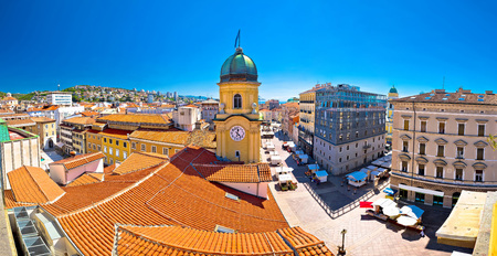 City of Rijeka clock tower and central square panorama, Kvarner bay, Croatia Фото со стока