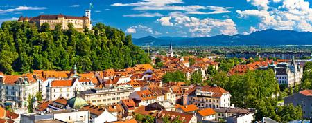 Stad van het panoramisch uitzicht van Ljubljana, hoofdstad van Slovenië