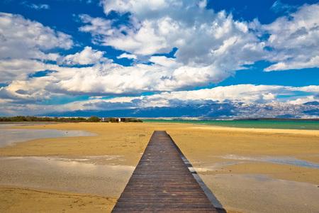 Wooden boardwalk and sand beach of Nin, Dalmatia, Croatia
