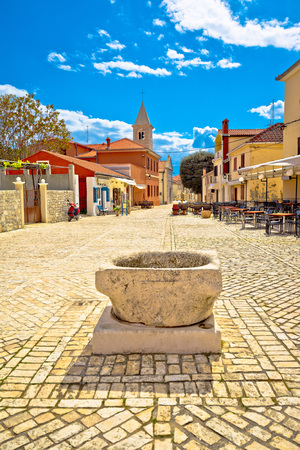 Historic town of Nin cobbled square, Dalmatia, Croatia Stock Photo