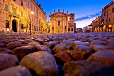 Mantova city Piazza Sordello evening view, European capital of culture and UNESCO world heritage site, Lombardy region of Italy Standard-Bild