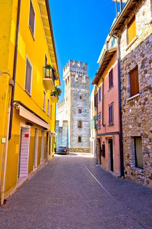 Lago di Garda town of Sirmione view, Tourist destination in Lombardy region of Italy