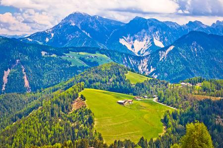 Dolomiti Alps in Alta Badia landscape amd peaks view, Trentino Alto Adige region of Italy