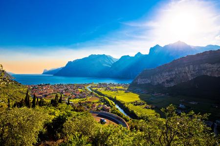 Torbole, Lago di Garda, Monte Brione e vista del fiume Sarca, regione Trentino Alto Adige