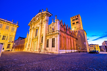 Mantova city Piazza Sordello and cathedral evening view, European capital of culture and UNESCO world heritage site, Lombardy region of Italy