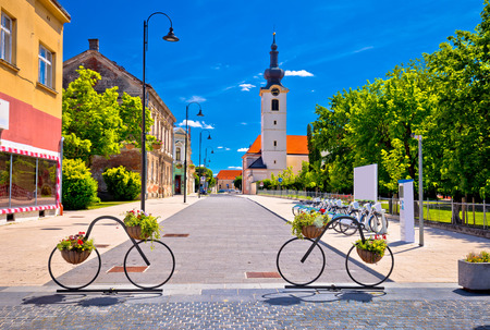 Koprivnica street view, town of bicycles in Podravina region of Croatia Stock Photo - 80373149