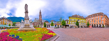 Bolzano main square Waltherplatz panoramic view, South Tyrol region of Italy