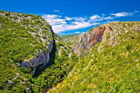 dalmatia: Cikola river canyon and Kljucica fortress ruins view, inland Dalmatia, Croatia Stock Photo