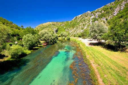 Krka river below Knin fortress view, inland Dalmatia, Croatia