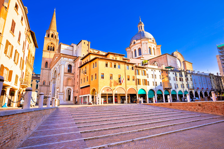 Mantova city Piazza delle Erbe view, European capital of culture and UNESCO world heritage site, Lombardy region of Italy