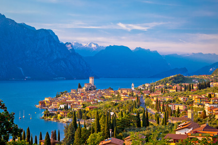 Town of Malcesine on Lago di Garda skyline view, Veneto region of Italy
