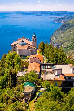 Madonna di Montecastello hermitage above Lago di Garda vertical view, Lombardy, Italy