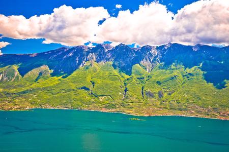Monte Baldo mountain above Malcesine and Lago di Garda panoramic view, Trentino Alto Adige region of Italy