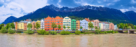 City of Innsbruck colorful Inn river waterfront panorama, Tyrol state of Austria
