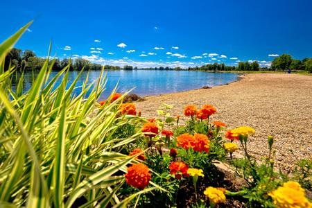 Soderica lake beach and landscape view, Podravina region of Croatia