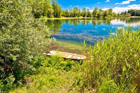 Soderica lake green landscape view, Podravina region of Croatia