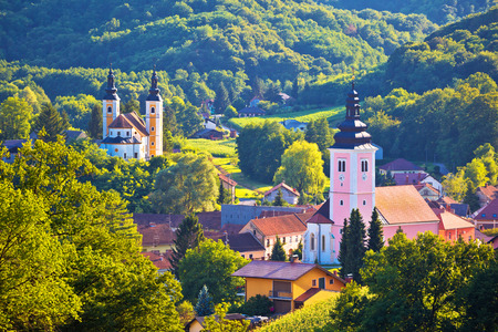 Village of Strigova towers and green landscape, Medjimurje region of Croatia Stock Photo
