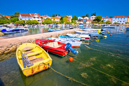 Town of Petrcane turquoise waterfront view, Dalmatia region of Croatia Stock Photo