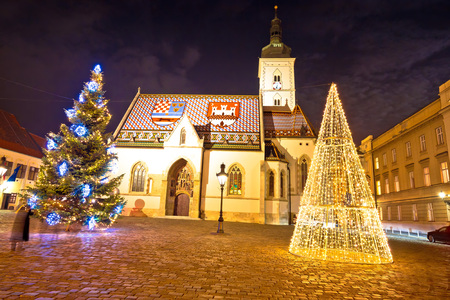 Zagreb government square advent evening view, saint Mark square, capital of Croatia 写真素材