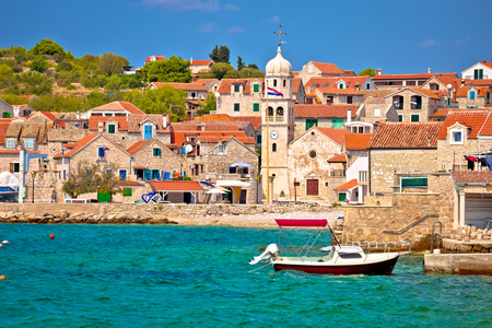 Prvic Sepurine waterfront and stone architecture view, Sibenik archipelago of Croatia