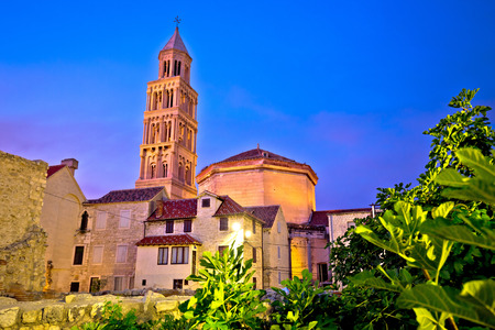 architecture monumental: Split cathedral and Diocletian palace evening view, Dalmatia, region of Croatia