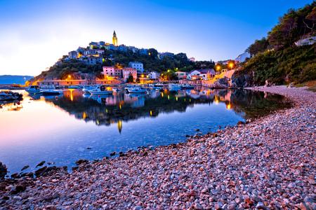 Town of Vrbnik harbor view morning glow, Island of Krk, Kvarner bay archipelago, Croatia