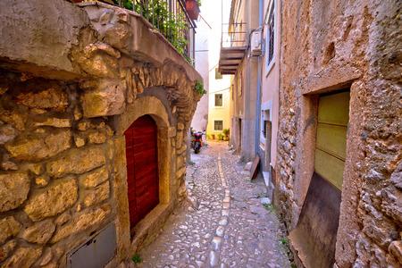 Old adriatic town Vrbnik stone street, Island of Krk, Kvarner bay archipelago of Croatia