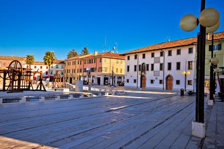Central square in town of Palmanova colorful architecture view, Friuli Venezia Giulia region of Italy Stock Photo