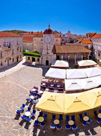 UNESCO Town of Trogir main square panoramic view in Dalmatia, Croatia