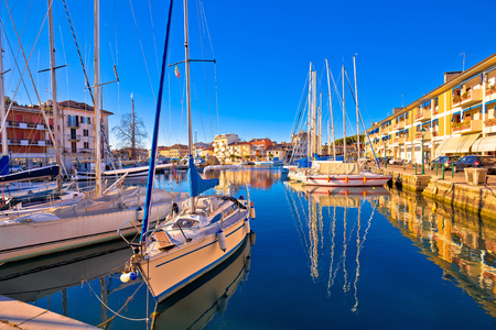 Town of Grado colorful waterfront and harbor view, Friuli-Venezia Giulia region of Italy Stock Photo