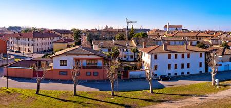 Town of Palmanova skyline panoramic view from city defense walls, Friuli Venezia Giulia region of Italy Stock Photo