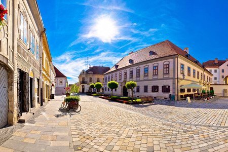 Baroque town of Varazdin square panoramic view, northern Croatia Stock fotó