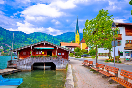 Idyllic german lake village Rottach Egern on Tegernsee lake, Bavaria, Germany