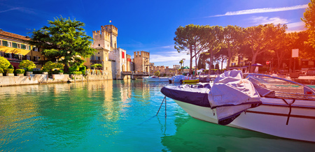 Lago di Garda town of Sirmione turquoise watefrront panoramic view, Tourist destination in Lombardy region of Italy