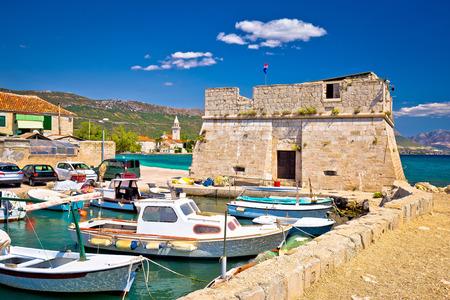 croatian: Kastel Stafilic landmarks and turquoise sea view, Split region of Dalmatia, Croatia