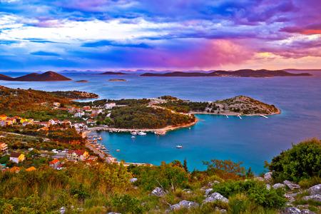 Kornati islands national park archipelago at dramatic sundown view from above, Drage Pakostanske, Dalmatia, Croatia Stock Photo