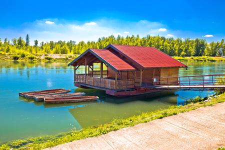 Drava river floating wooden cabin, Medjimurje region of Croatia Stock Photo