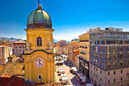 City of Rijeka clock tower and central square panorama, Kvarner bay, Croatia Stok Fotoğraf